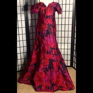 Aidan Mattox Floral Brocade Mermaid Gown